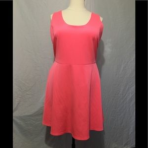 Pink Fluorescent Sleeveless Skater Dress